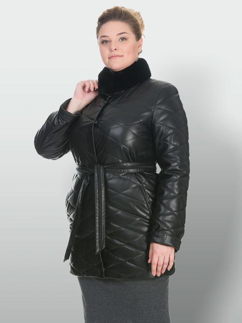 Кожаное пальто артикул 18902998/50 - фото 4