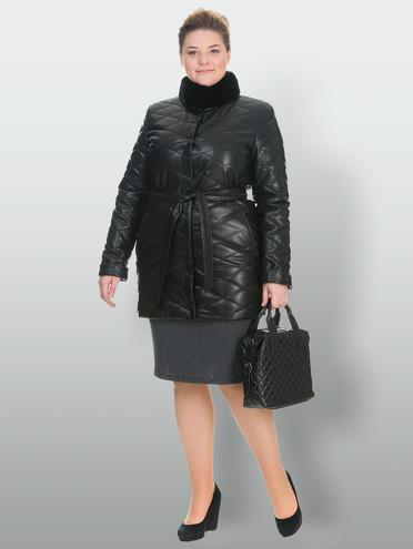 Кожаное пальто эко-кожа 100% П/А, цвет черный, арт. 18902998  - цена 3990 руб.  - магазин TOTOGROUP