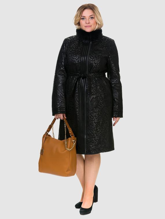 Кожаное пальто эко-замша 100% П/А, цвет черный, арт. 18903211  - цена 8990 руб.  - магазин TOTOGROUP