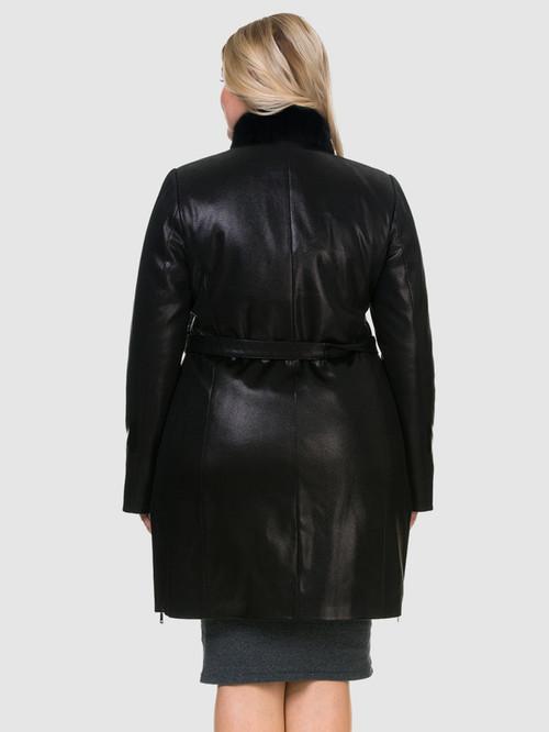 Кожаное пальто артикул 18903213/48 - фото 3