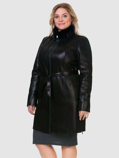 Кожаное пальто артикул 18903213/48 - фото 4