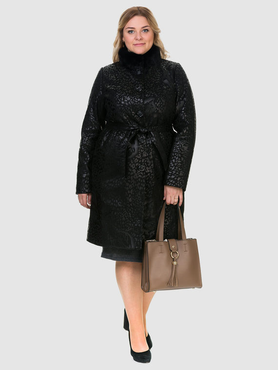 Кожаное пальто эко-замша 100% П/А, цвет черный, арт. 18903214  - цена 8990 руб.  - магазин TOTOGROUP