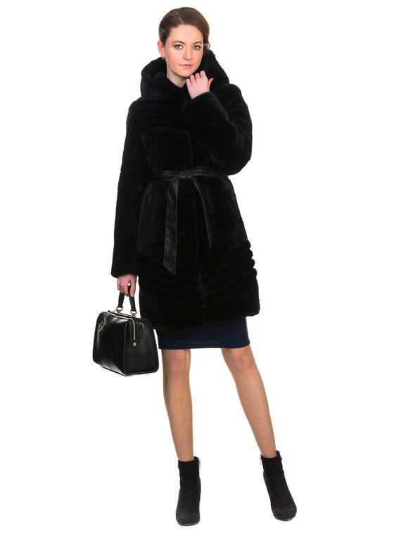 Шуба из мутона мех мутон, цвет черный, арт. 18903219  - цена 19990 руб.  - магазин TOTOGROUP