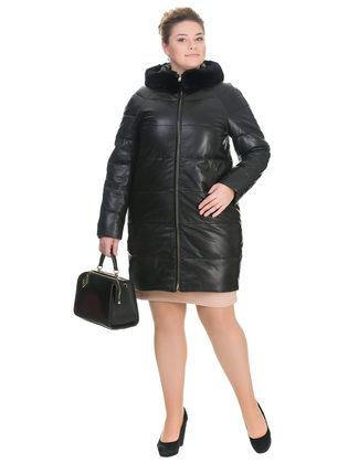 Кожаное пальто кожа овца, цвет черный, арт. 18903291  - цена 28490 руб.  - магазин TOTOGROUP