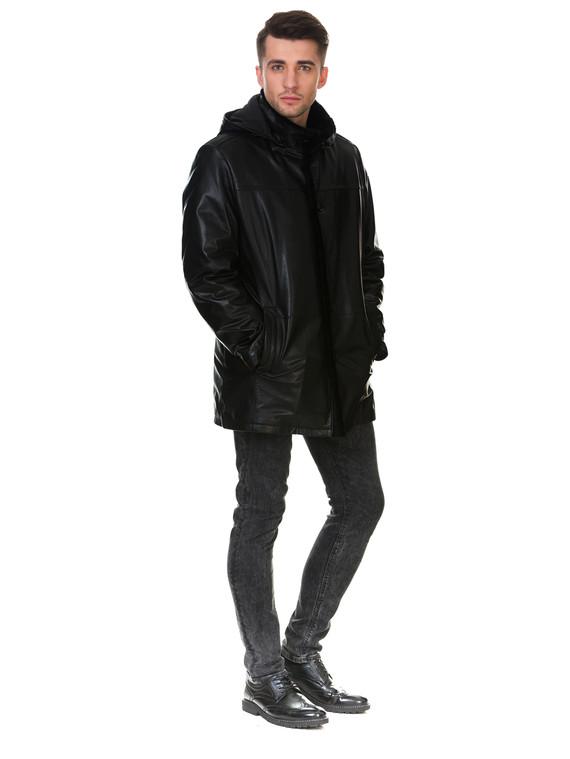 Кожаная куртка кожа коза, цвет черный, арт. 18903379  - цена 17990 руб.  - магазин TOTOGROUP