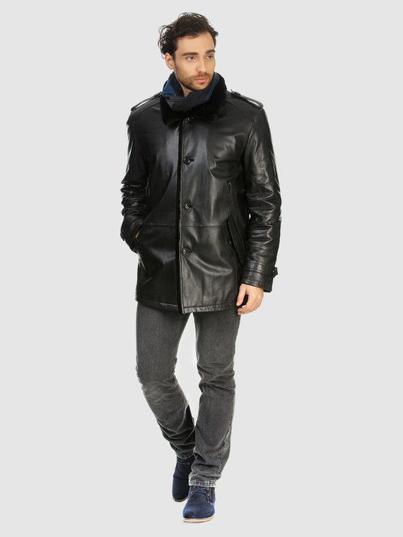 Кожаная куртка кожа коза, цвет черный, арт. 18903381  - цена 16990 руб.  - магазин TOTOGROUP