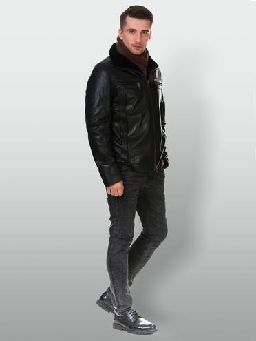 Кожаная куртка кожа коза, цвет черный, арт. 18903383  - цена 17990 руб.  - магазин TOTOGROUP
