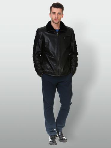 Кожаная куртка кожа коза, цвет черный, арт. 18903384  - цена 17990 руб.  - магазин TOTOGROUP