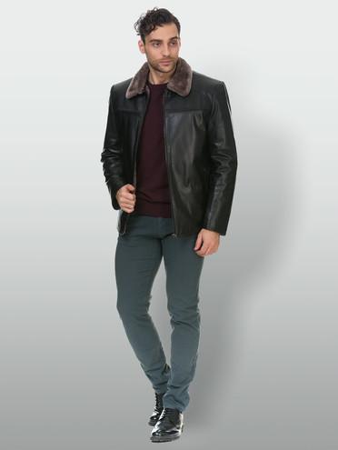 Кожаная куртка кожа коза, цвет черный, арт. 18903387  - цена 14990 руб.  - магазин TOTOGROUP