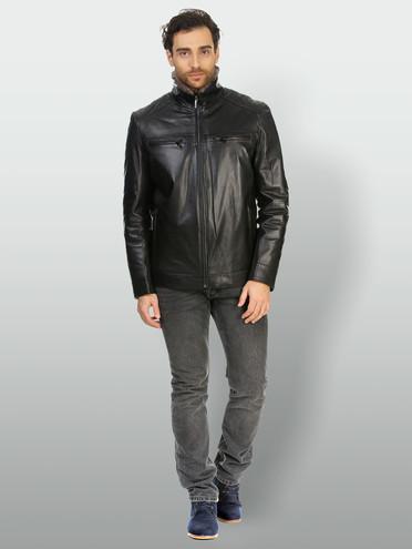 Кожаная куртка кожа коза, цвет черный, арт. 18903388  - цена 14990 руб.  - магазин TOTOGROUP