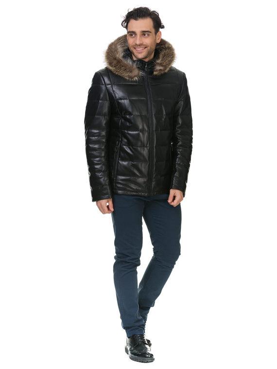 Кожаная куртка кожа , цвет черный, арт. 18903389  - цена 13390 руб.  - магазин TOTOGROUP