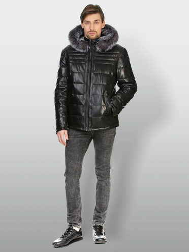 Кожаная куртка кожа , цвет черный, арт. 18903390  - цена 18990 руб.  - магазин TOTOGROUP