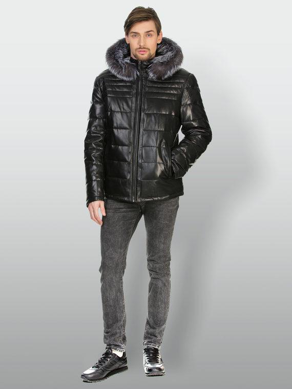 Кожаная куртка кожа , цвет черный, арт. 18903390  - цена 13390 руб.  - магазин TOTOGROUP