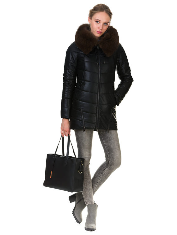 Кожаная куртка эко кожа 100% П/А, цвет черный, арт. 18903466  - цена 11290 руб.  - магазин TOTOGROUP