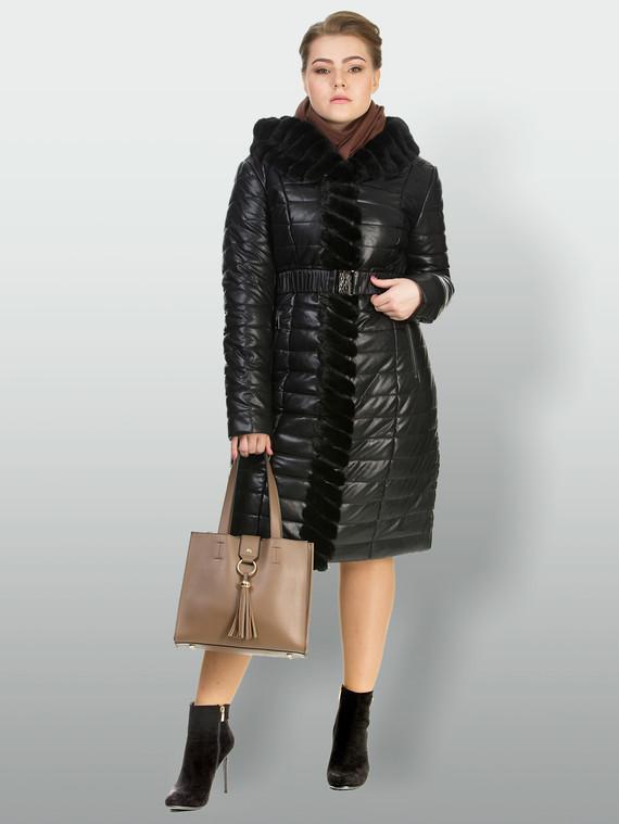 Кожаное пальто эко кожа 100% П/А, цвет черный, арт. 18903467  - цена 13390 руб.  - магазин TOTOGROUP