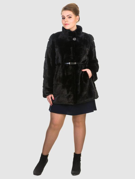 Шуба из норки мех норка, цвет черный, арт. 18903471  - цена 59990 руб.  - магазин TOTOGROUP