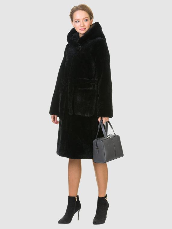 Шуба из мутона мех мутон, цвет черный, арт. 18903489  - цена 23990 руб.  - магазин TOTOGROUP