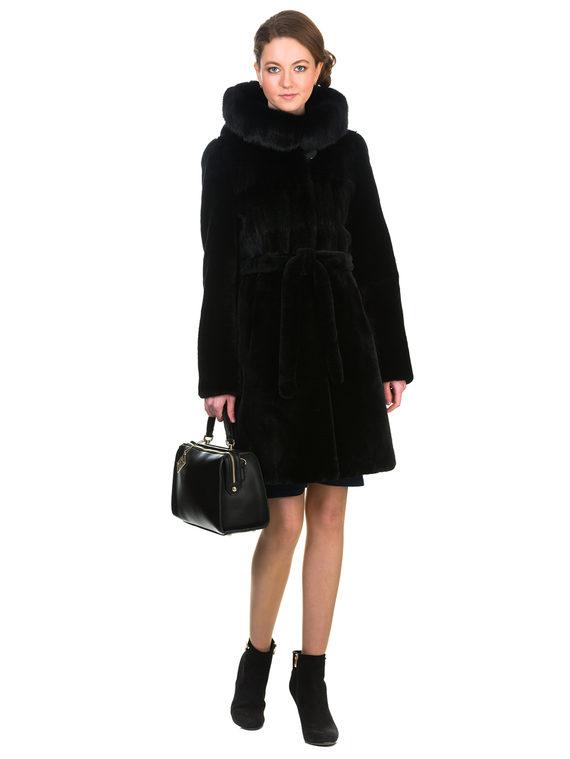 Шуба из мутона мех мутон, цвет черный, арт. 18903492  - цена 25590 руб.  - магазин TOTOGROUP
