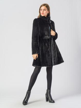 Шуба из норки мех норка крашеная, цвет черный, арт. 18903502  - цена 94990 руб.  - магазин TOTOGROUP