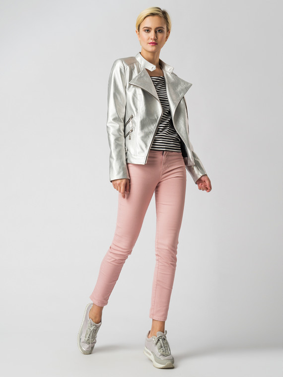 5bb091c23b38 Кожаная куртка эко-кожа корова, цвет серый металлик, арт. 19006133 - цена