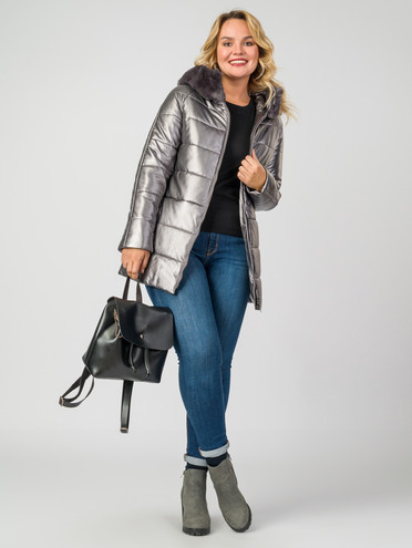 Кожаная куртка эко-кожа 100% П/А, цвет металлик, арт. 19006977  - цена 8990 руб.  - магазин TOTOGROUP