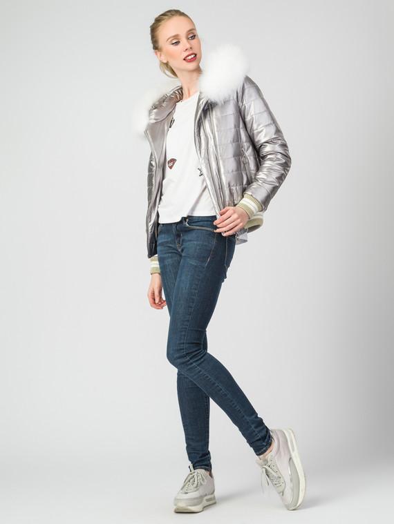 Кожаная куртка эко-кожа 100% П/А, цвет серый металлик, арт. 19007304  - цена 7990 руб.  - магазин TOTOGROUP