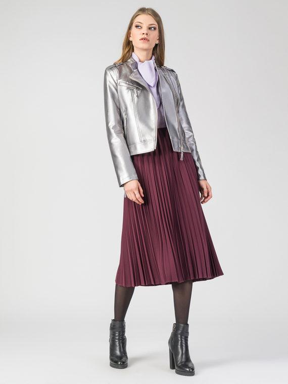 Кожаная куртка эко-кожа 100% П/А, цвет серый металлик, арт. 19105784  - цена 2990 руб.  - магазин TOTOGROUP