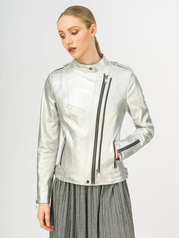 Кожаная куртка эко-кожа 100% П/А, цвет серый металлик, арт. 19108205  - цена 2990 руб.  - магазин TOTOGROUP
