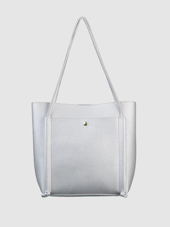 Сумка эко-кожа 100% П/А, цвет серый металлик, арт. 19700549  - цена 1570 руб.  - магазин TOTOGROUP