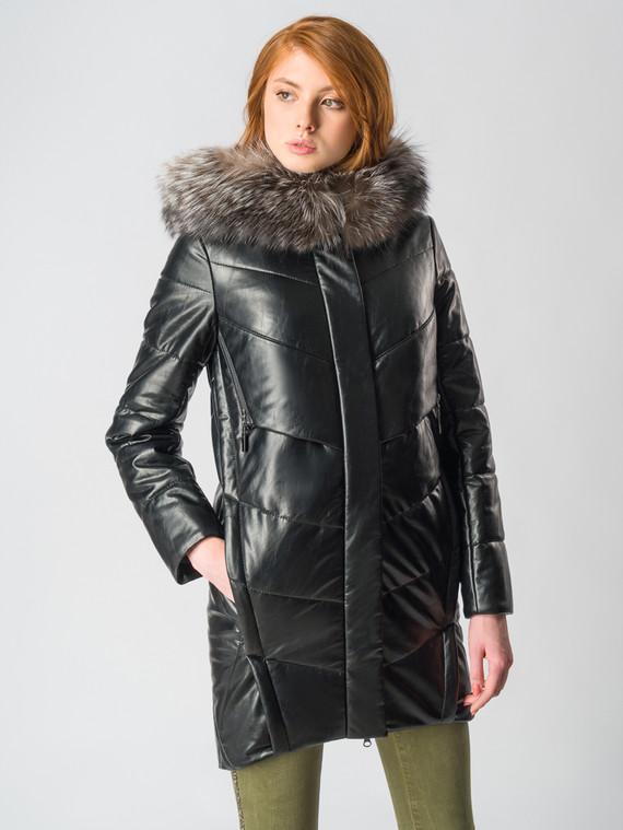 Кожаное пальто эко-кожа 100% П/А, цвет черный металлик, арт. 21006146  - цена 9490 руб.  - магазин TOTOGROUP