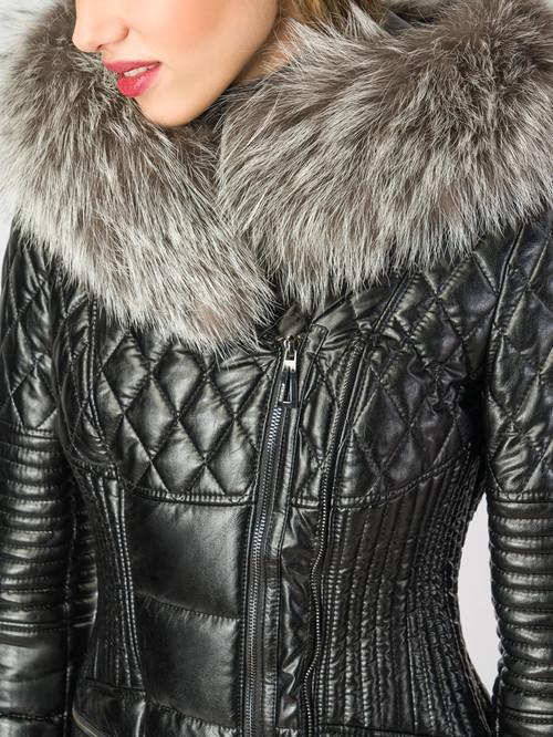 Кожаное пальто артикул 21006186/42 - фото 4