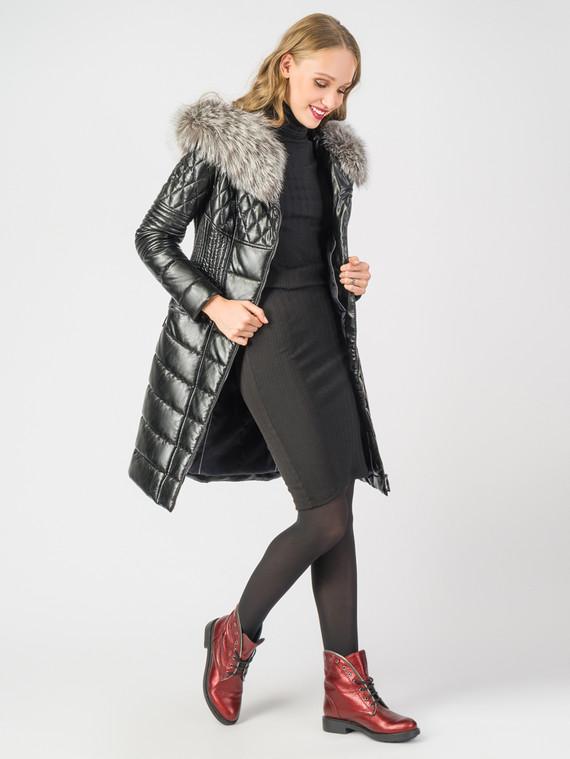 Кожаное пальто эко-кожа 100% П/А, цвет черный металлик, арт. 21006186  - цена 6990 руб.  - магазин TOTOGROUP