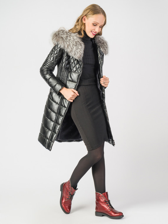 Кожаное пальто эко кожа 100% П/А, цвет черный металлик, арт. 21006186  - цена 14990 руб.  - магазин TOTOGROUP