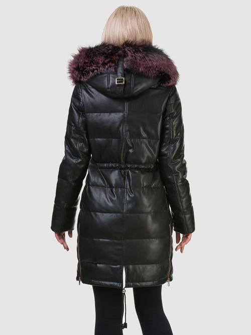 Кожаное пальто артикул 21601945/42 - фото 3