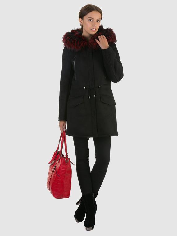 Дубленка эко кожа 100% П/А, цвет черный, арт. 21602043  - цена 9490 руб.  - магазин TOTOGROUP