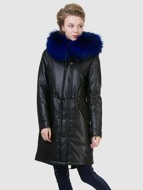 Кожаное пальто артикул 21602540/44 - фото 3