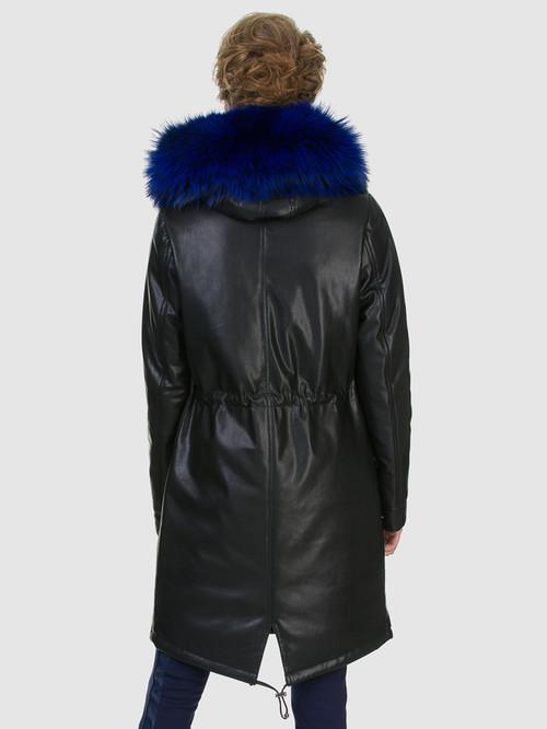 Кожаное пальто артикул 21602540/44 - фото 4