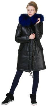 Кожаное пальто артикул 21602540/44 - фото 5