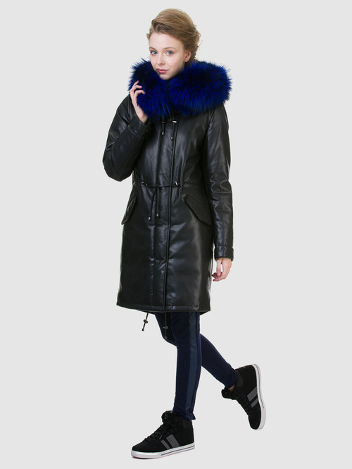 Кожаное пальто артикул 21602540/44