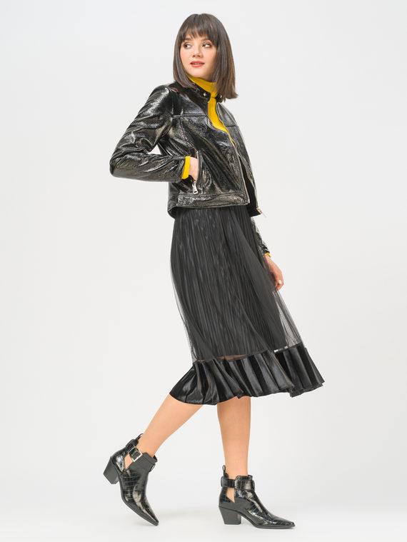 Кожаная куртка эко-кожа 100% П/А, цвет черный металлик, арт. 21810081  - цена 4990 руб.  - магазин TOTOGROUP