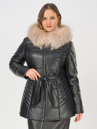 Кожаная куртка эко-кожа 100% П/А, цвет черный металлик, арт. 21810782  - цена 15990 руб.  - магазин TOTOGROUP