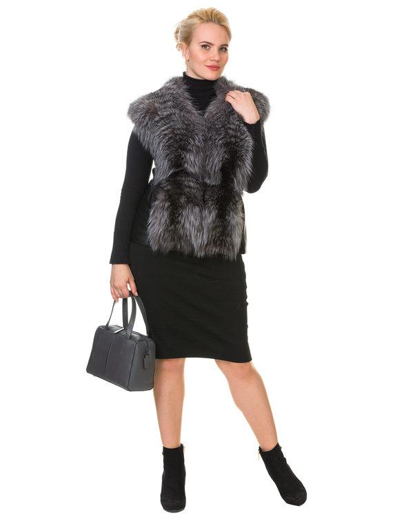 Меховой жилет мех чернобурка, цвет черный металлик, арт. 21900604  - цена 10590 руб.  - магазин TOTOGROUP