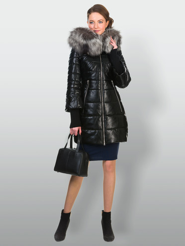 Кожаное пальто эко кожа 100% П/А, цвет черный металлик, арт. 21900614  - цена 13390 руб.  - магазин TOTOGROUP