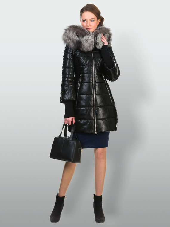 Кожаное пальто эко кожа 100% П/А, цвет черный металлик, арт. 21900614  - цена 11290 руб.  - магазин TOTOGROUP