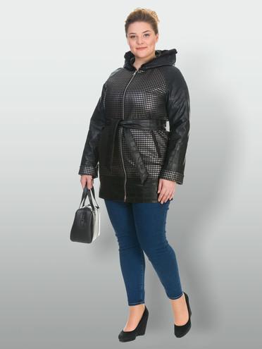 Кожаное пальто эко-кожа 100% П/А, цвет черный металлик, арт. 21902637  - цена 3990 руб.  - магазин TOTOGROUP