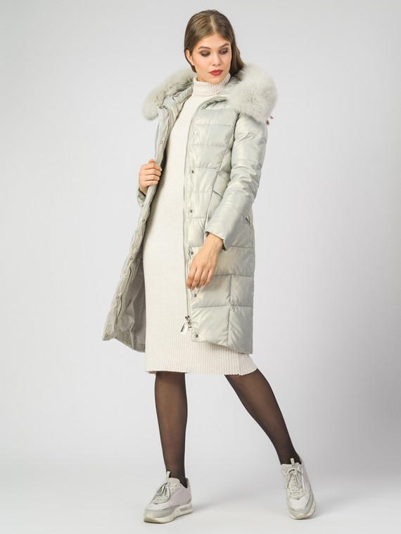 Кожаное пальто эко-кожа 100% П/А, цвет белый металлик, арт. 23007115  - цена 9990 руб.  - магазин TOTOGROUP