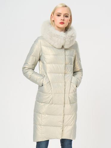 Кожаное пальто эко-кожа 100% П/А, цвет белый металлик, арт. 23109241  - цена 11290 руб.  - магазин TOTOGROUP