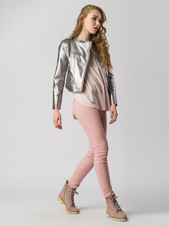 Кожаная куртка эко-кожа 100% П/А, цвет серый металлик, арт. 24005784  - цена 3190 руб.  - магазин TOTOGROUP