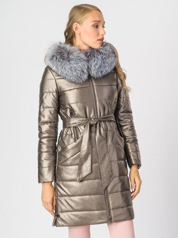 Кожаное пальто эко-кожа 100% П/А, цвет желтый металлик, арт. 24006836  - цена 10590 руб.  - магазин TOTOGROUP
