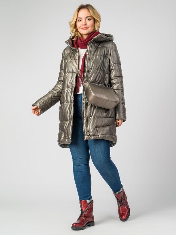 Кожаное пальто эко-кожа 100% П/А, цвет желтый металлик, арт. 24007114  - цена 9490 руб.  - магазин TOTOGROUP
